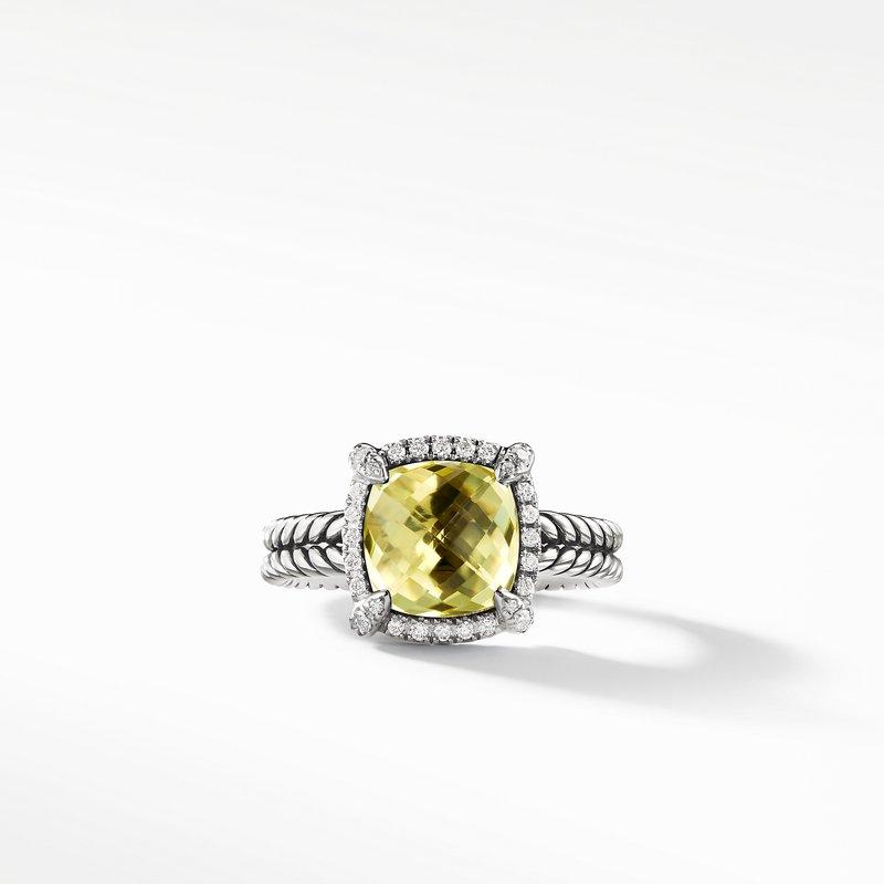 David Yurman Chatelaine Pave Bezel Ring with Lemon Citrine and Diamonds, 9mm