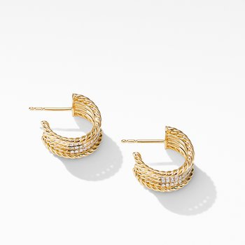 DY Origami Cable Huggie Hoops in 18K Yellow Gold with Diamonds
