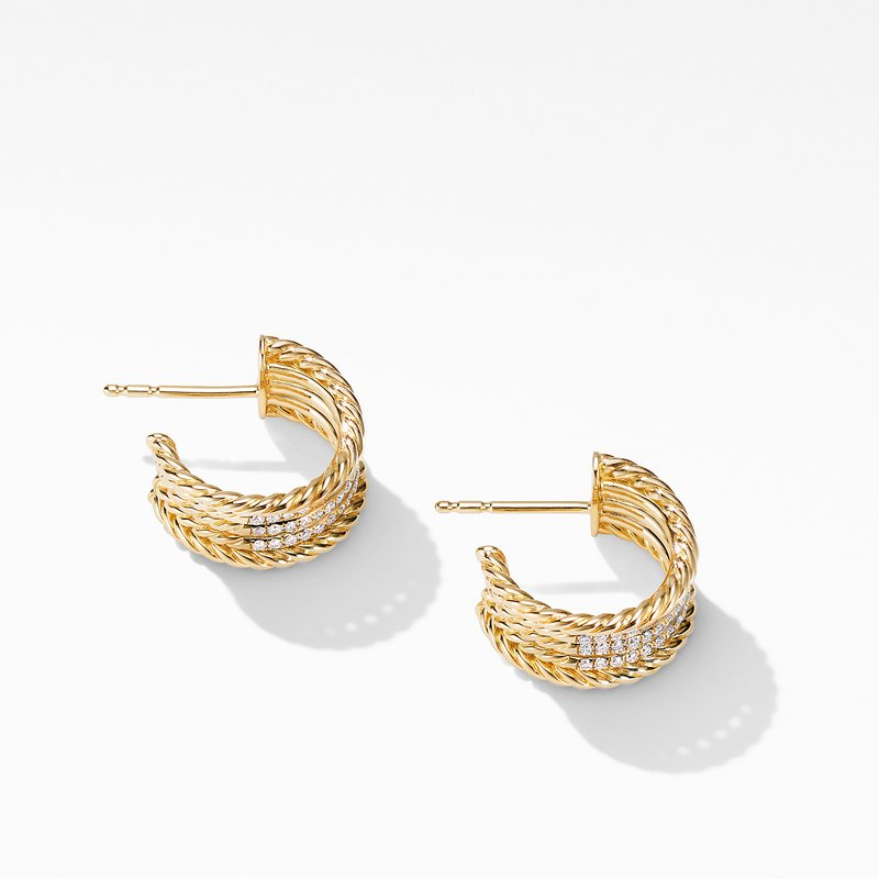 David Yurman DY Origami Cable Huggie Hoops in 18K Yellow Gold with Diamonds