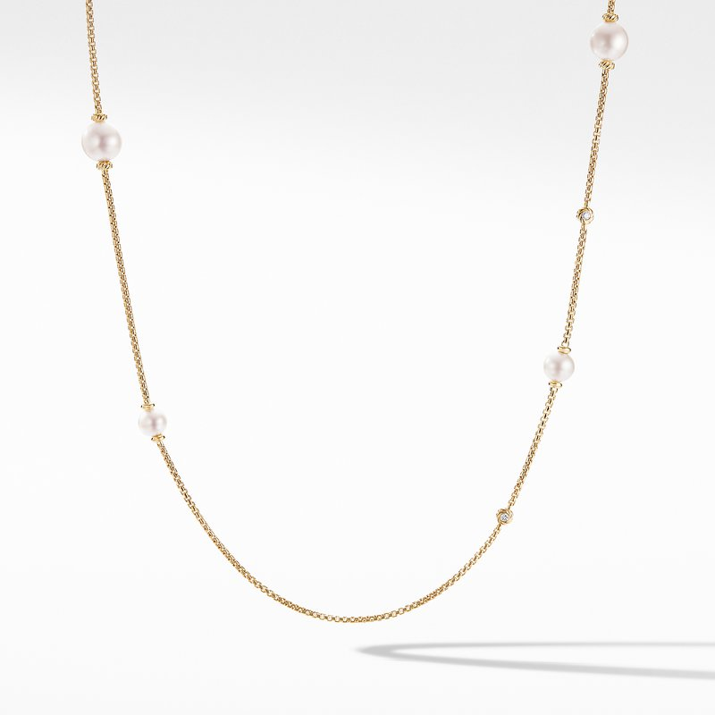 David Yurman Pearl Cluster Chain Necklace in 18K Yellow Gold with Diamonds