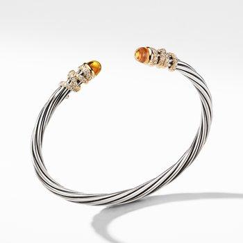Helena End Station Bracelet with Citrine, Diamonds and 18K Gold, 4mm