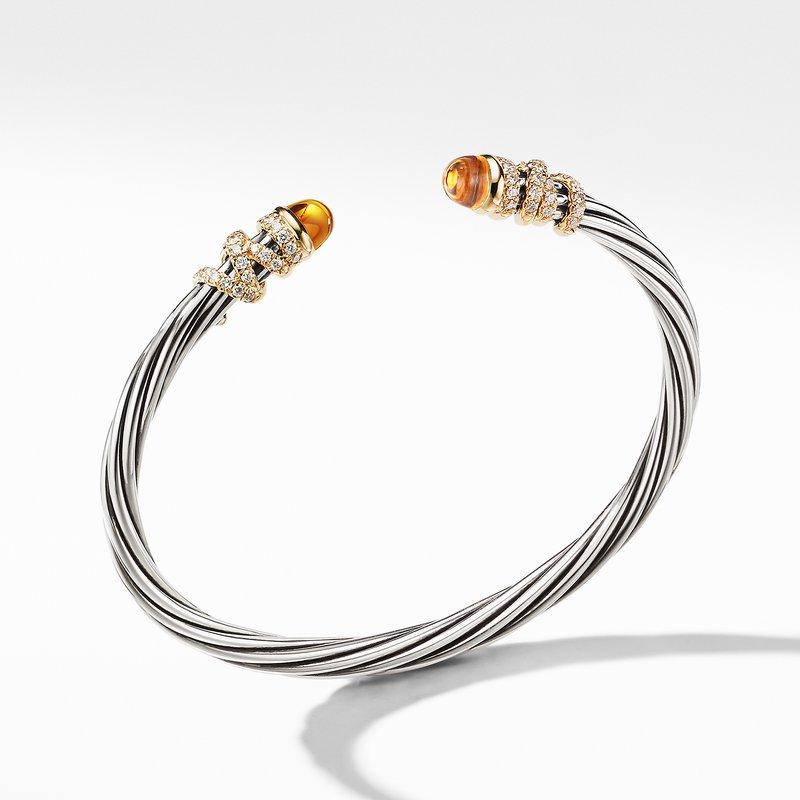 David Yurman Helena End Station Bracelet with Citrine, Diamonds and 18K Gold, 4mm