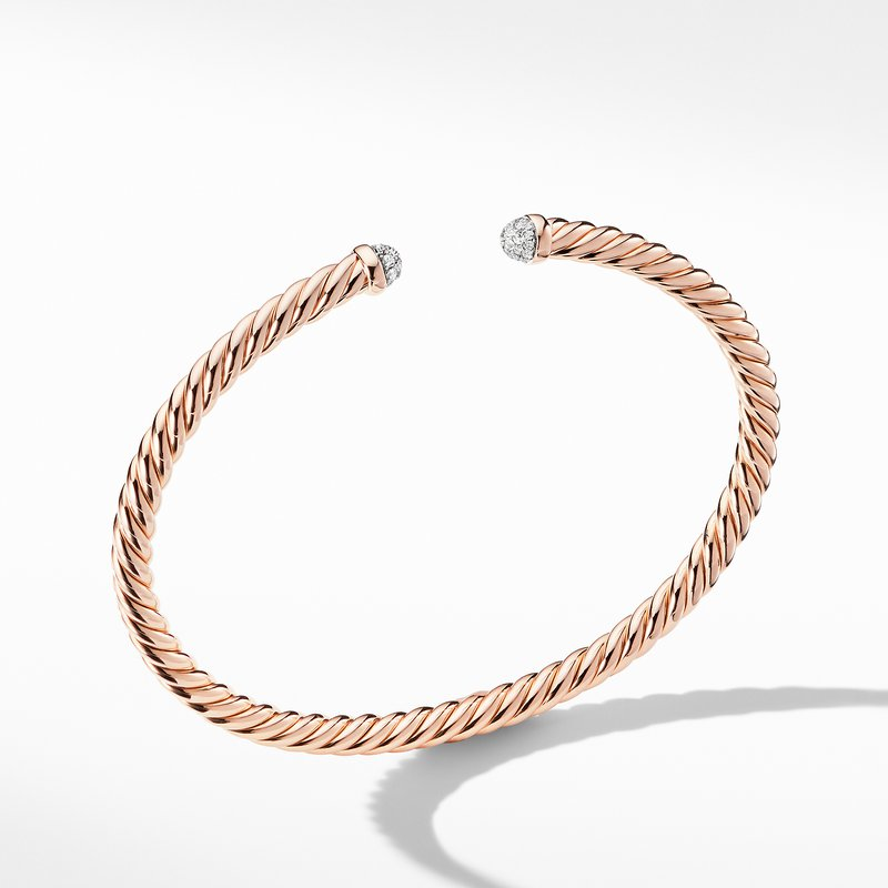 David Yurman Petite Precious Cable Bracelet with Diamonds in Rose Gold