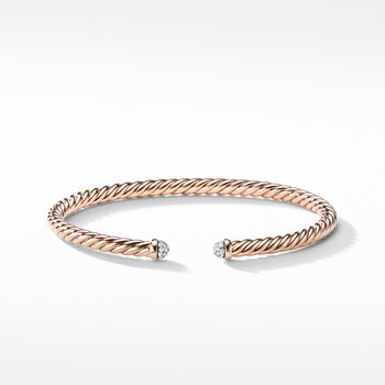 Petite Precious Cable Bracelet with Diamonds in Rose Gold
