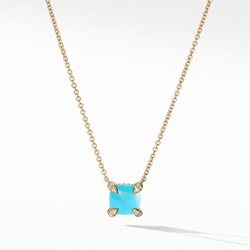 Châtelaine Pendant Necklace with Turquoise and Diamonds in 18K Gold