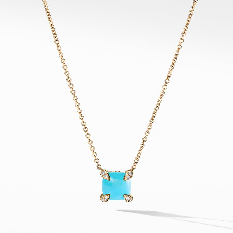 David Yurman Châtelaine Pendant Necklace with Turquoise and Diamonds in 18K Gold