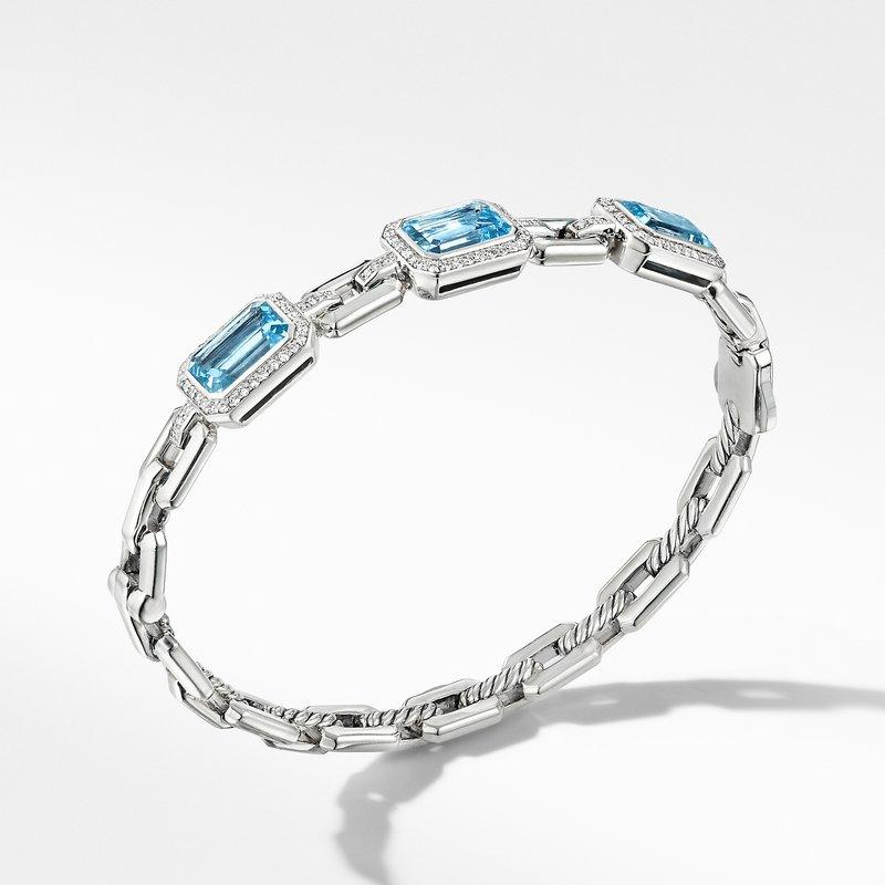 David Yurman Novella Three Stone Bracelet with Blue Topaz and Pavé Diamonds