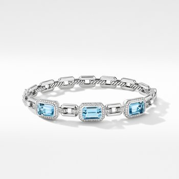 Novella Three Stone Bracelet with Blue Topaz and Pavé Diamonds