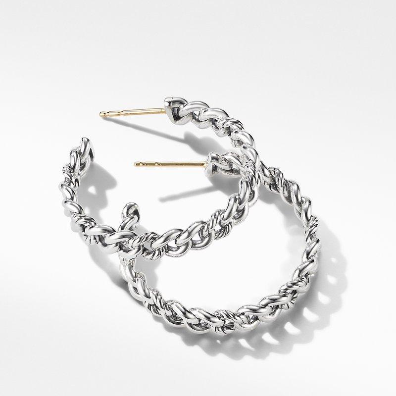 David Yurman Belmont Curb Link Medium Hoop Earrings