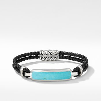 Exotic Stone Bar Station Leather Bracelet with American Turquoise