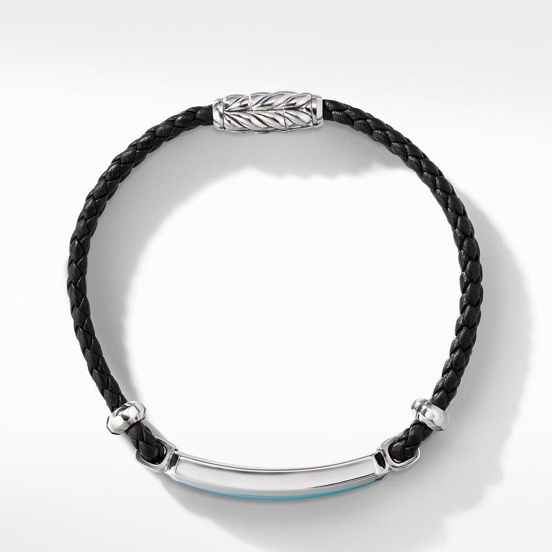 David Yurman Exotic Stone Bar Station Leather Bracelet with American Turquoise