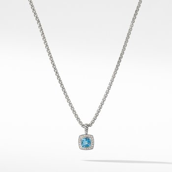 Petite Albion® Pendant Necklace with Blue Topaz and Diamonds