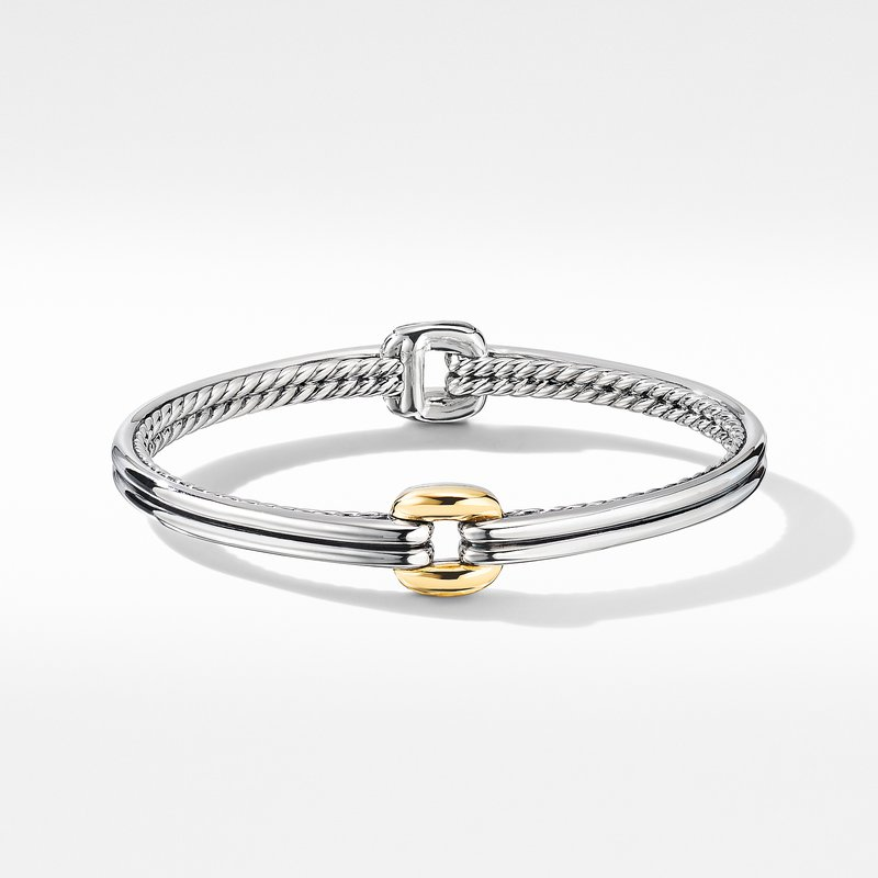 David Yurman Thoroughbred® Center Link Bracelet with 18K Yellow Gold