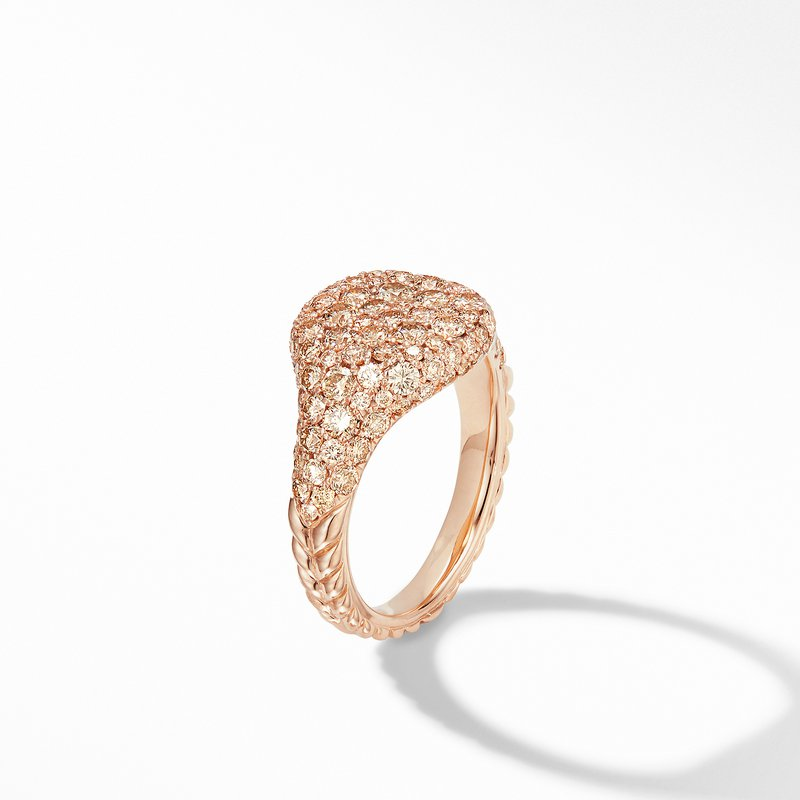 David Yurman Mini Chevron Pinky Ring in 18K Rose Gold with Pavé Cognac Diamonds