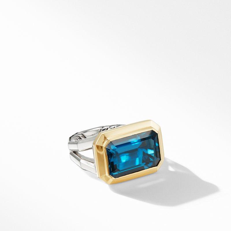 David Yurman Novella Statement Ring with Hampton Blue Topaz and 18K Yellow Gold