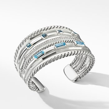 Stax Wide Cuff Bracelet with Blue Topaz and Diamonds