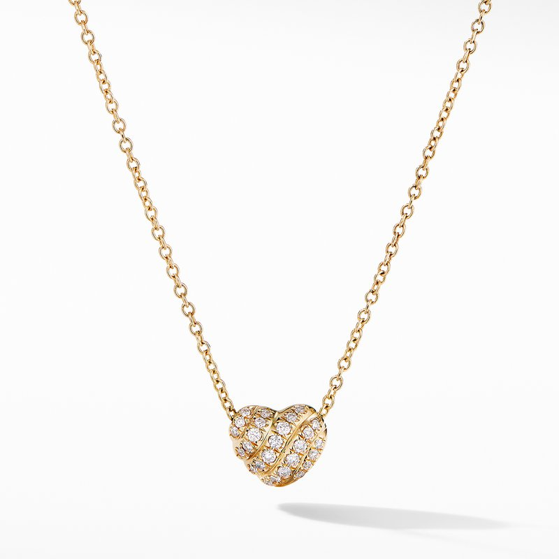 David Yurman Heart Pendant Necklace in 18K Yellow Gold with Pavé Diamonds