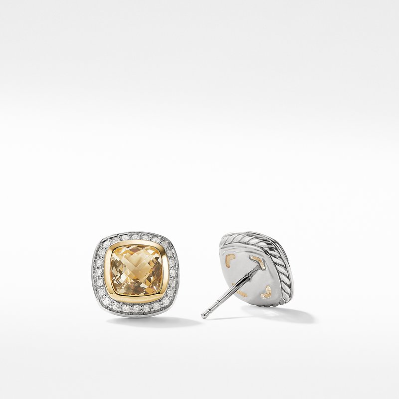 David Yurman Earrings with Champgane Citrine and Diamonds with 18K Gold