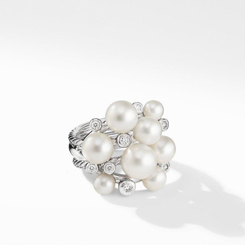 David Yurman Large Pearl Cluster Ring with Diamonds