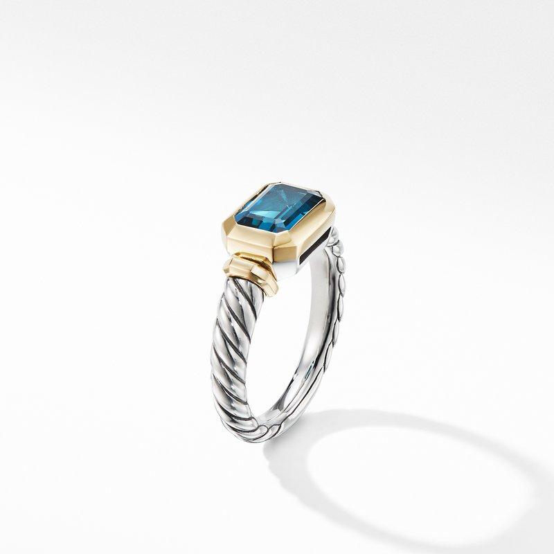 David Yurman Novella Ring with Hampton Blue Topaz and 18K Yellow Gold