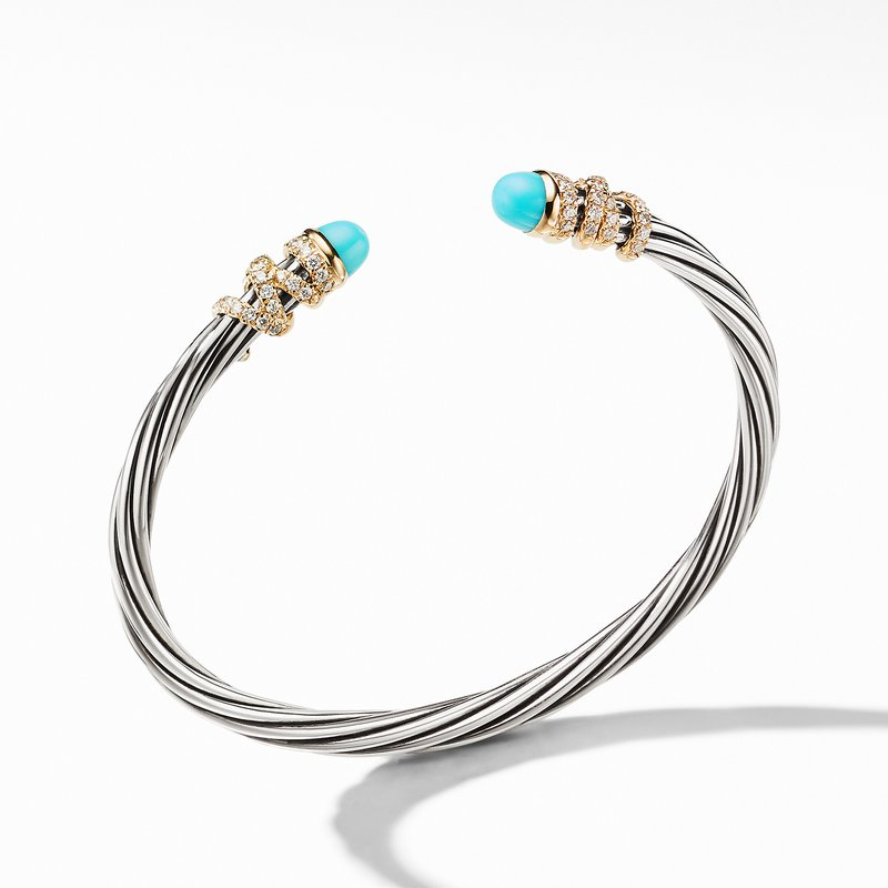 David Yurman Helena End Station Bracelet with Turquoise, Diamonds and 18K Gold, 4mm