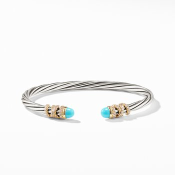 Helena End Station Bracelet with Turquoise, Diamonds and 18K Gold, 4mm