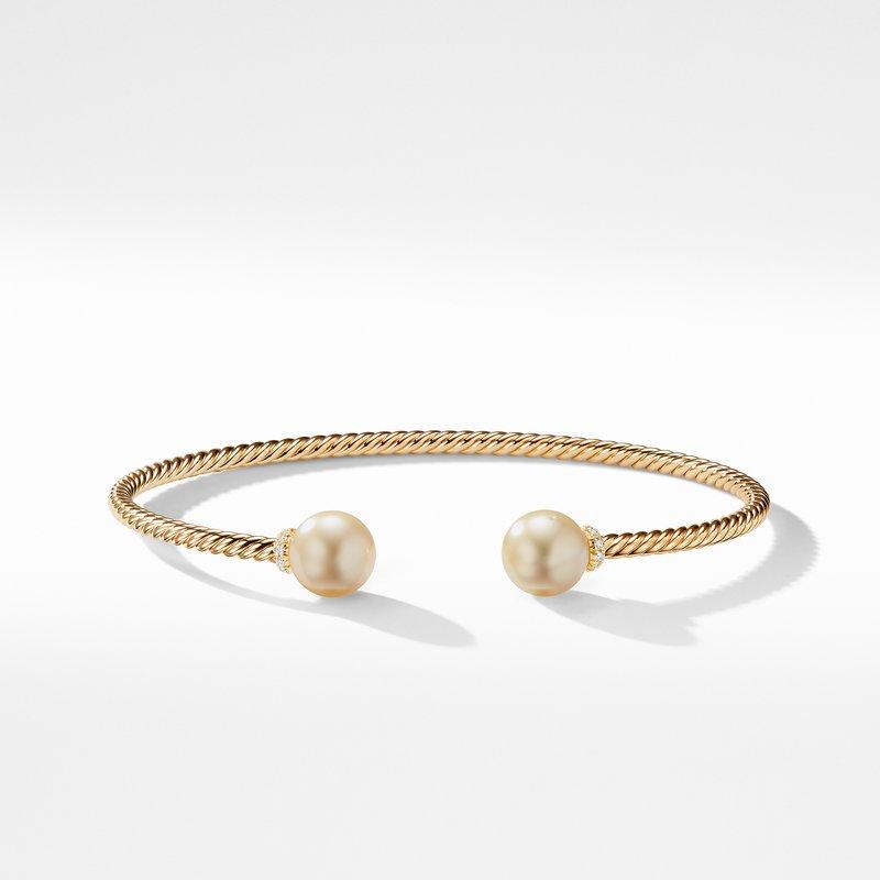 David Yurman Solari Bead Bracelet with South Sea Golden Pearl in 18K Gold