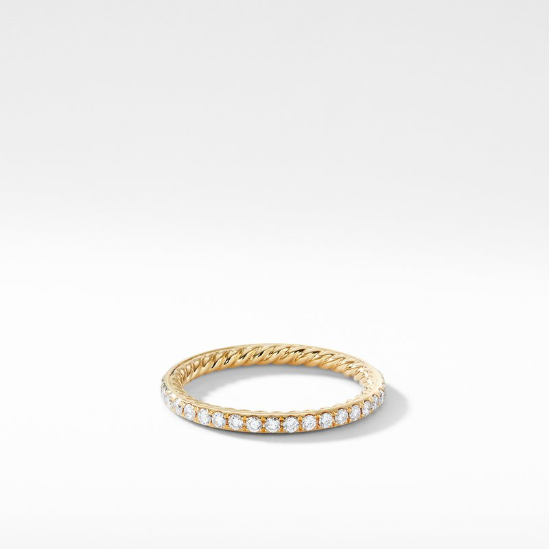 David Yurman DY Eden Band Ring in 18K Yellow Gold with Diamond