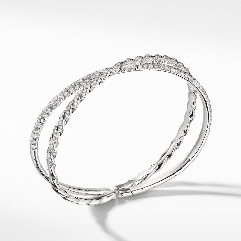 David Yurman Pavéflex Two Row Bracelet with Diamonds in 18K White