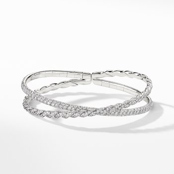Pavéflex Two Row Bracelet with Diamonds in 18K White