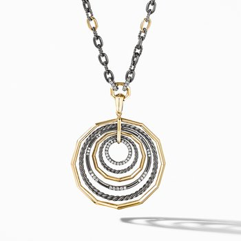 Stax Black and Gold Large Pendant Necklace with Diamonds
