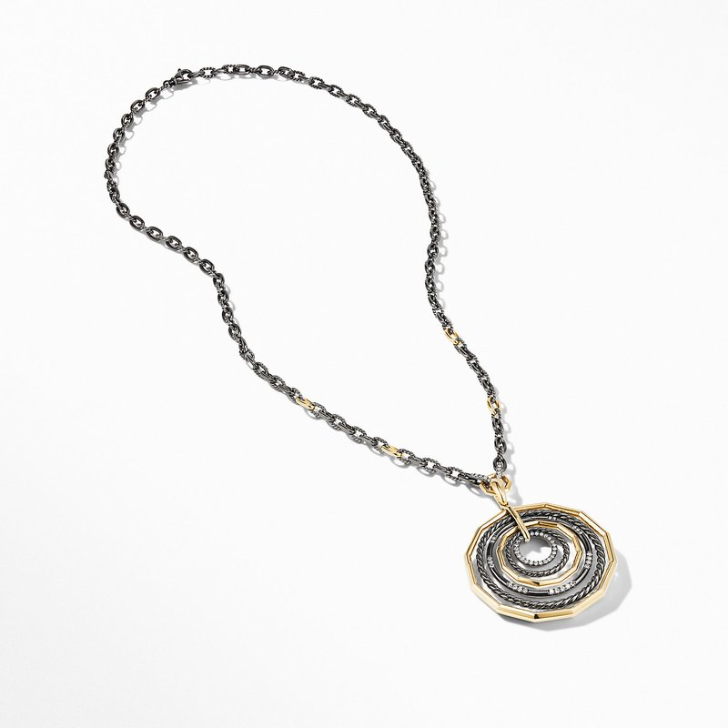 David Yurman Stax Black and Gold Large Pendant Necklace with Diamonds