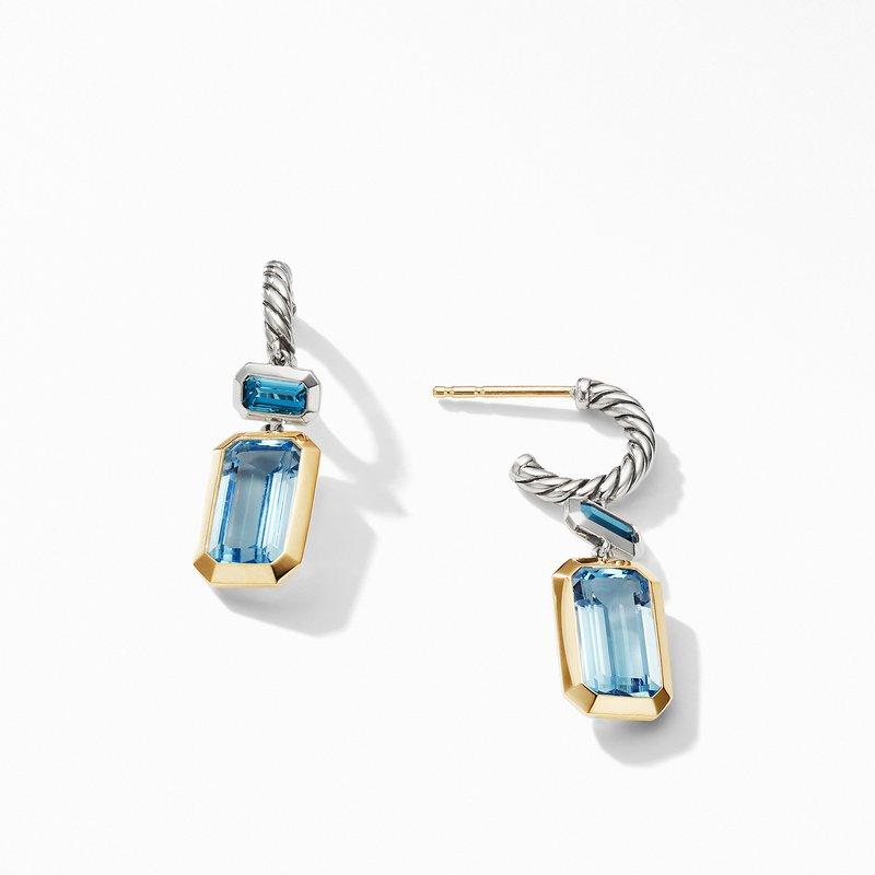 David Yurman Novella Drop Earrings with Blue Topaz and 18K Yellow Gold