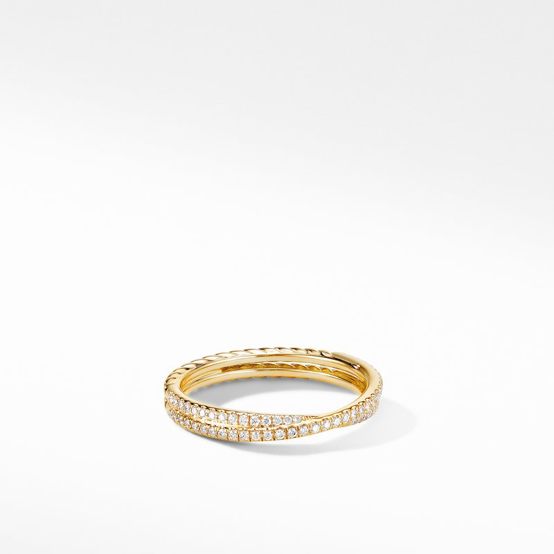 David Yurman Micro Pavé DY Crossover® Band Ring in 18K Yellow Gold