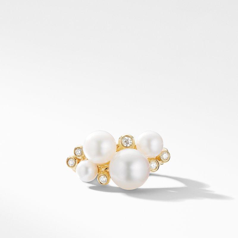 David Yurman Pearl Cluster Ring in 18K Yellow Gold with Diamonds