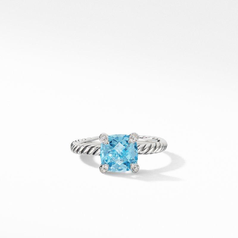 David Yurman Chatelaine® Ring with Blue Topaz and Diamonds
