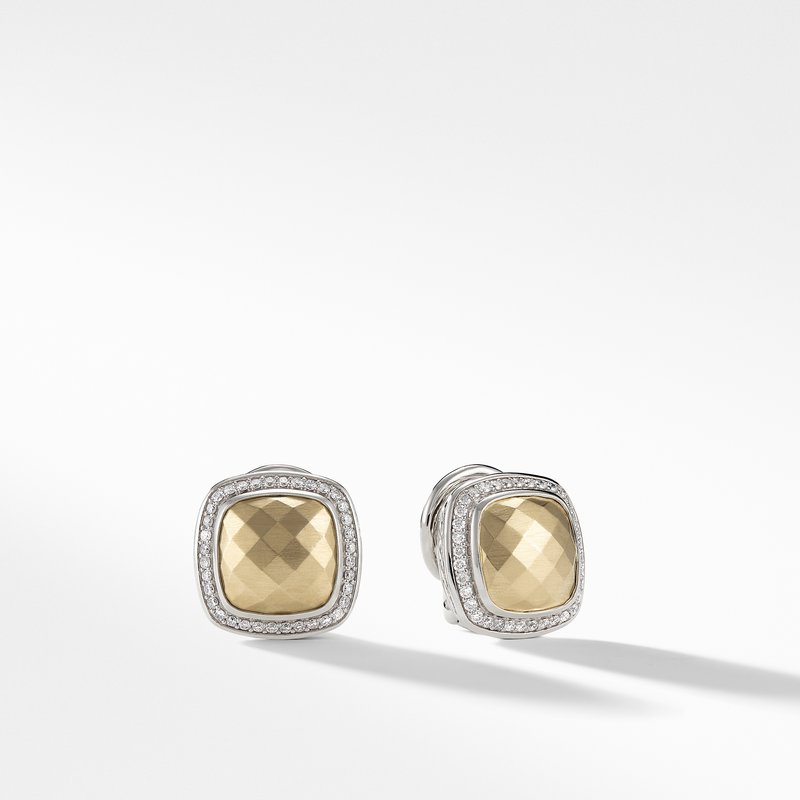 David Yurman Albion Earrings with Gold Dome, Diamonds and 18K Gold
