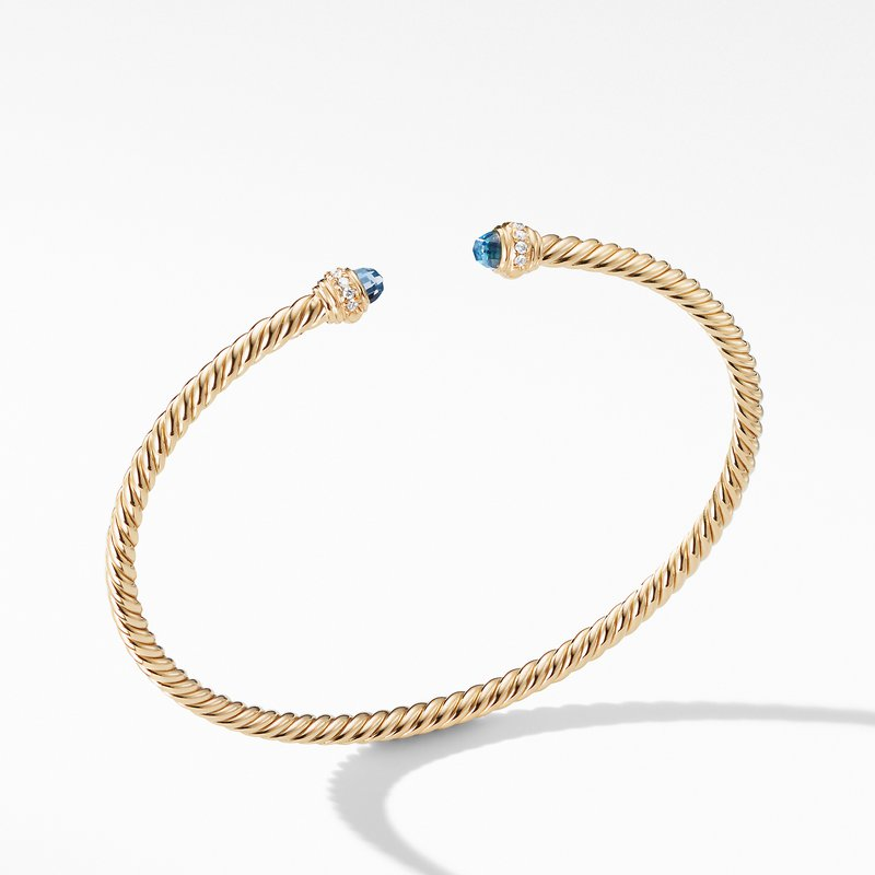 David Yurman Cable Spira® Bracelet in 18K Gold with Hampton Blue Topaz and Diamonds