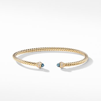 Cable Spira® Bracelet in 18K Gold with Hampton Blue Topaz and Diamonds
