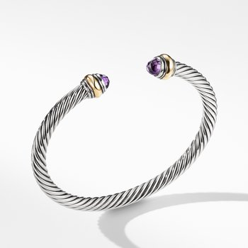 Cable Classic Bracelet with Amethyst and Gold