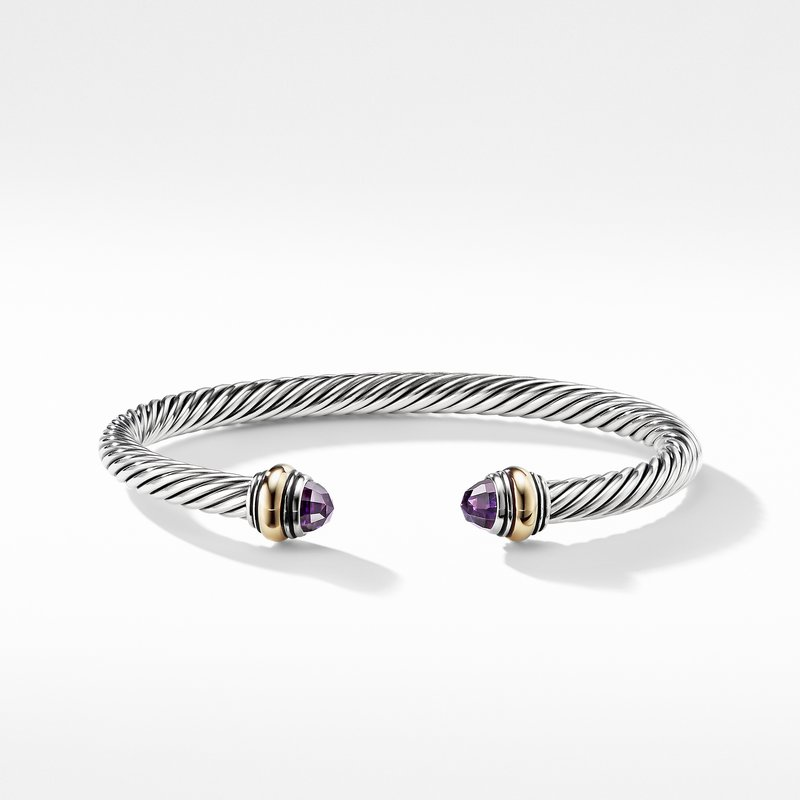 David Yurman Cable Classic Bracelet with Amethyst and Gold