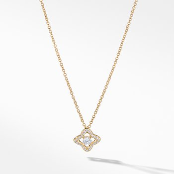 Venetian Quatrefoil® Necklace with Diamonds in 18K Gold