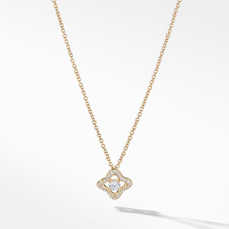 David Yurman Venetian Quatrefoil® Necklace with Diamonds in 18K Gold