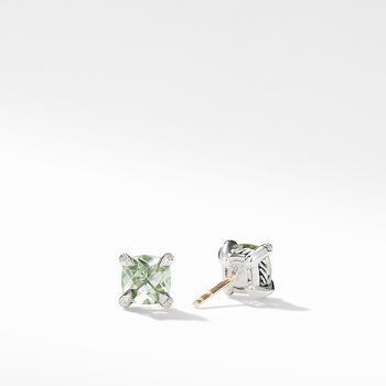 Chatelaine® Stud Earrings with Prasiolite and Diamonds