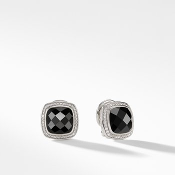 Earrings with Black Onyx and Diamonds