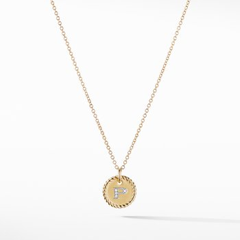 """""""P"""" Pendant with Diamonds in Gold on Chain"""