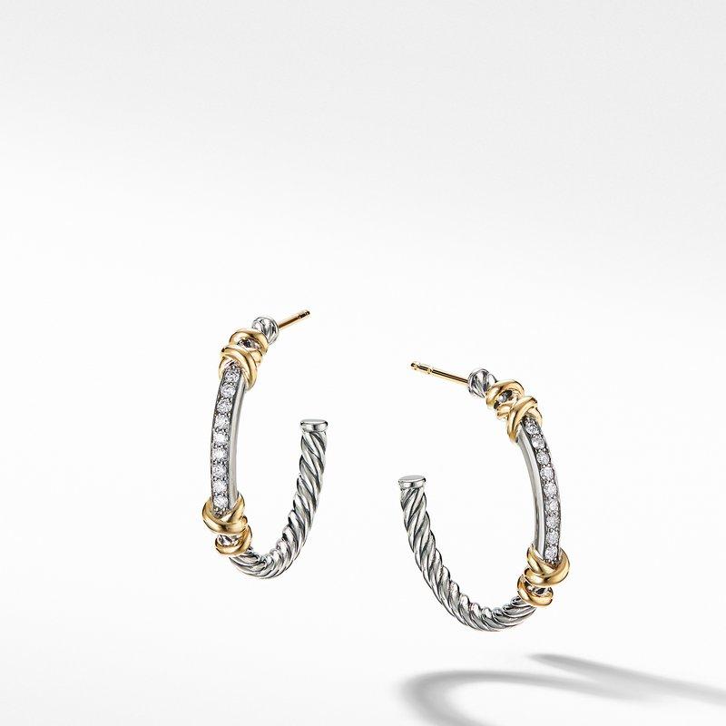 David Yurman Petite Helena Hoop Earrings with 18K Yellow Gold and Diamonds