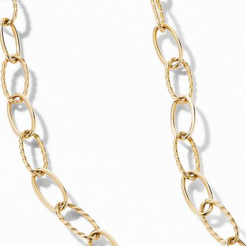 Stax Elongated Oval Link Necklace in 18K Yellow Gold