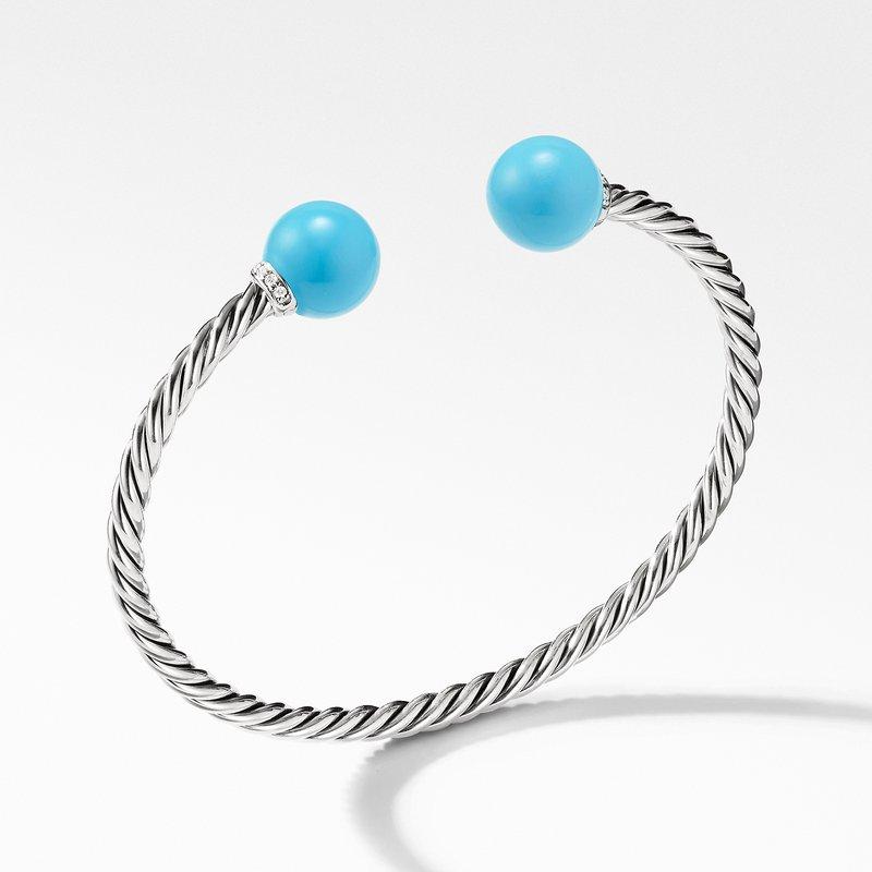 David Yurman Solari Bracelet with Diamonds and Reconstituted Turquoise