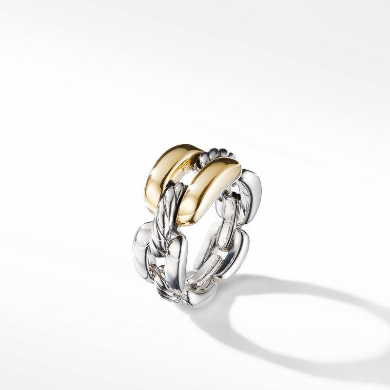 David Yurman Wellesley Link Medium Chain Link Ring with 18K Gold